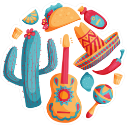 Cinco De Mayo Mexican Illustrations Sticker