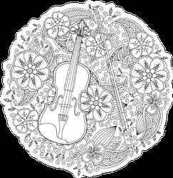 Circle Floral Violin Sticker