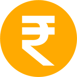 Circle Indian Rupee Sticker