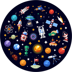Circle Of Space Icons Sticker