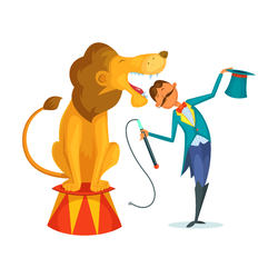 Circus Trainer With Lion Sticker