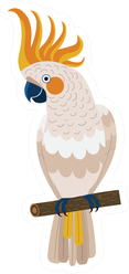 Citron-crested Cockatoo Parrot Sitting On Branch Sticker