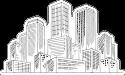 City Graphic Black White Cityscape Skyline Sketch Sticker