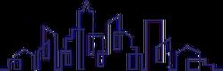 City Skyline Line Art Illustration Sticker