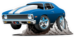 Classic American Muscle Car Cartoon Sticker