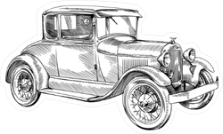 Classic Vintage Car Illustration Sticker