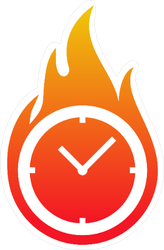 Clock on Fire Sticker