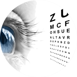 Close Up Of An Eye And Vision Test Chart Sticker