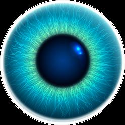 Close-up Of Human Eye Blue 3d Iris Illustration Sticker