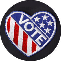 Closeup Of Usa Vote Badge On Black Suit Jacket Pocket Sticker