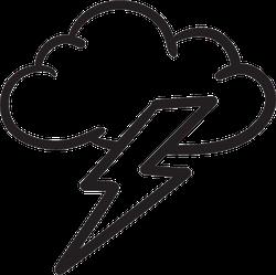 Cloud And Lightning Bolt Sketch Sticker