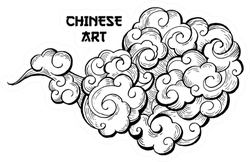 Clouds Hand Drawn Chinese Art Sticker