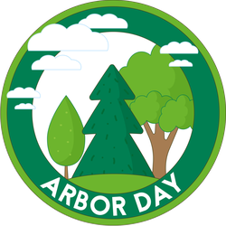 Cloudy Arbor Day Badge Sticker