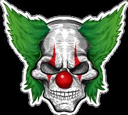 Clown Skull With Green Hair Sticker
