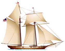 Coasting Schooner With US Flag Sticker