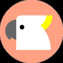 Cockatoo Parrot On Peach Sticker