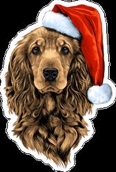 Cocker Spaniel in Santa Hat Sticker