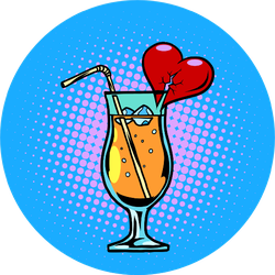 Cocktail With Heart Sticker