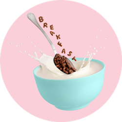 Cocoa Cereal Letters Spelling Breakfast Sticker