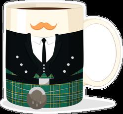 Coffee Mug With National Costume Of Ireland Sticker