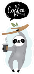 Coffee Time Sloth Sticker
