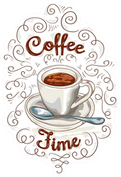 Coffee Time Swirly Sticker