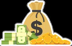 Coins Dollars Money Bag Illustration Sticker