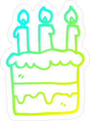 Cold Gradient Cartoon Birthday Cake Sticker