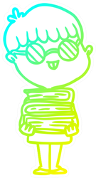 Cold Gradient Line Drawing Of A Cartoon Nerd Boy Sticker