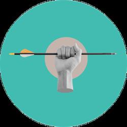 Collage Modern Art Hand Holding Archery Arrow Sticker