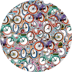Collage Of Hand Drawn Different Retro Bicycles Sticker