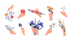 Collection Of Florist Hands Holding Bouquets Sticker