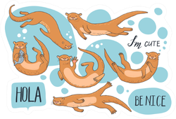 Collection Of Hand-drawn Cute Otters Stickers