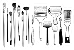 Collection Of Sketches Of Art Brushes Sticker