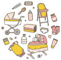 Collection of Yellow and Pink Baby Icons Sticker