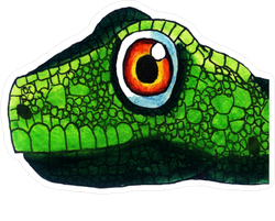 Color Lizard Illustration Face Sticker