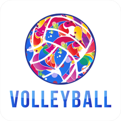 Color Swirl Volleyball Logo Sticker