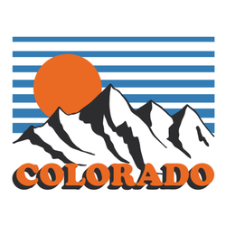 Colorado Snowy Mountain With Sunset Sticker