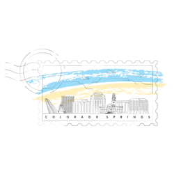 Colorado Springs Skyline Stamp Illustration Sticker