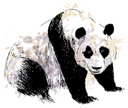 Colored Hand Drawing Panda Sticker