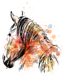 Colored Hand Sketch Horses Behind Illustration Sticker