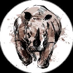 Colored Hand Sketch Of The Running Rhino Sticker