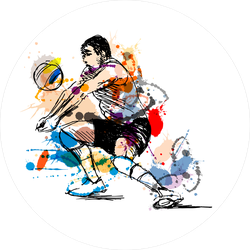 Colored Sketch Volleyball Player Sticker