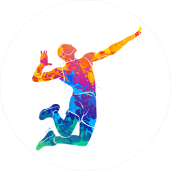 Colorful Abstract Splatter Volleyball Player Sticker