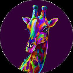 Colorful Artistic Portrait Of A Giraffe Sticker
