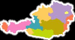 Colorful Austria Map Sticker