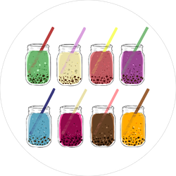Colorful Boba Drink Sticker