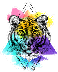 Colorful Boho Tiger Sticker