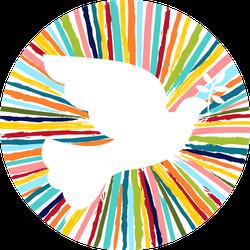 Colorful Dove Bird Shape In Fun Colors Sticker