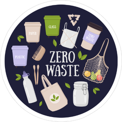 Colorful Eco Friendly And Zero Waste Elements Sticker